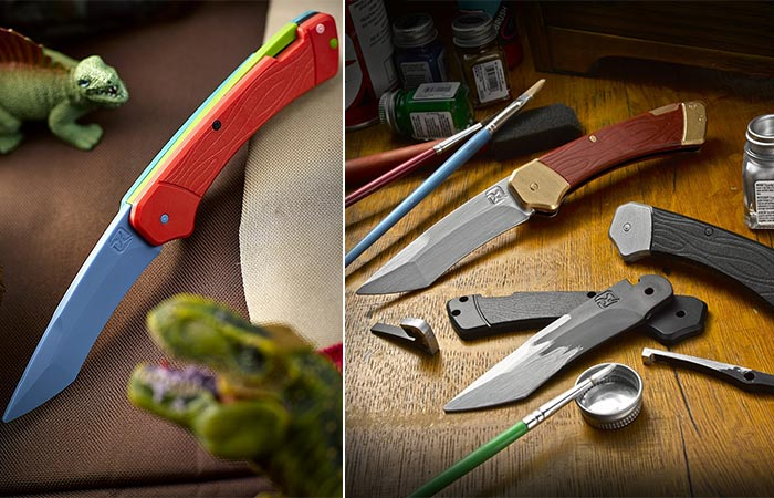 Trigger Knife Kit in different colors, and a picture of it being painted.