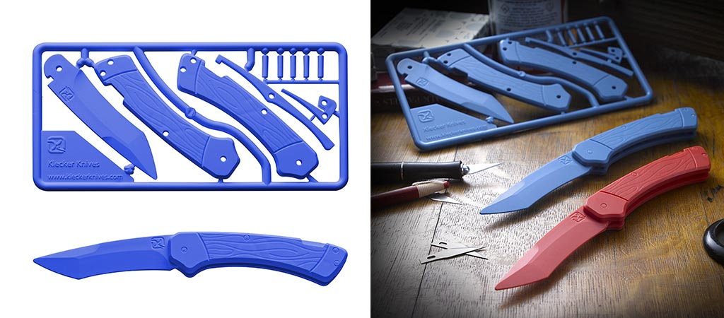 Blue version of the Trigger Knife Kit before being punched out. Also, an image of the red and blue versions already assembled.