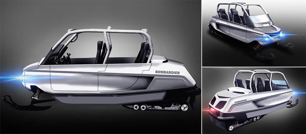 Three different views of the Whitefox Snowmobile