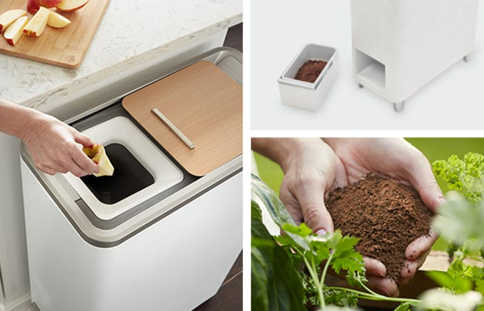 View of someone putting an apple core in the Zera Food Recycler. Also, the recycle material, and somebody using it on plants.