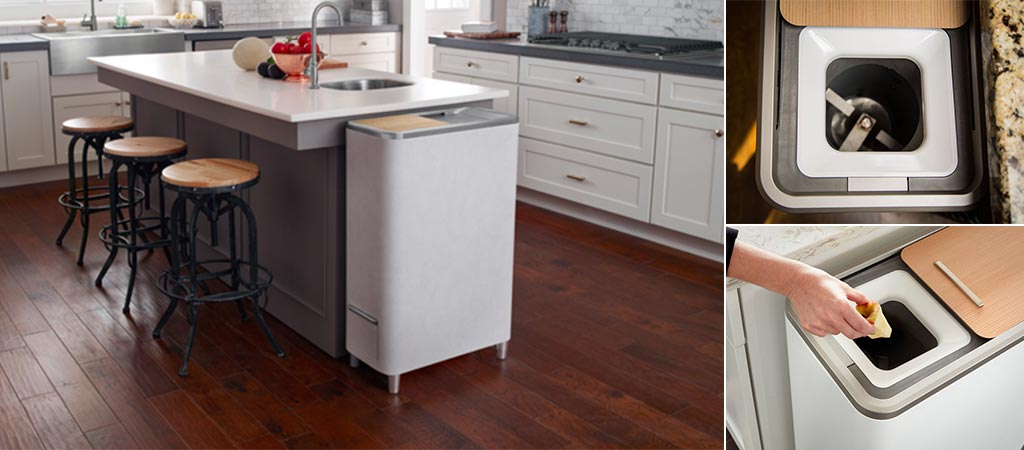 Three different views of the Zera Food Recycler