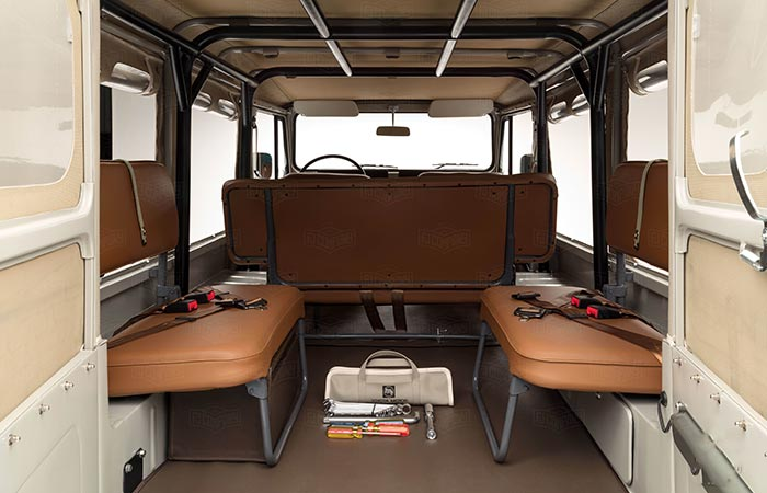 View of the rear interior of the 1981 Toyota Land Cruiser FJ45 Troopy