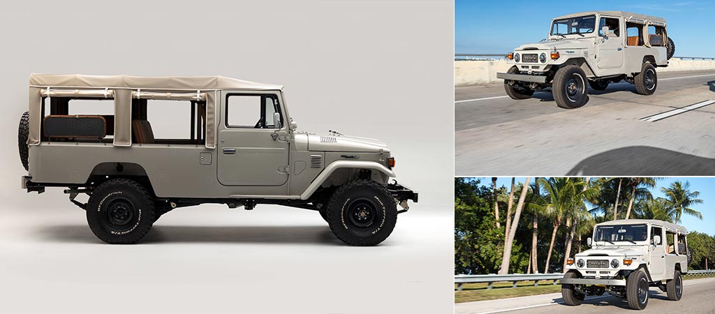 Three different views of the 1981 Toyota Land Cruiser FJ45 Troopy