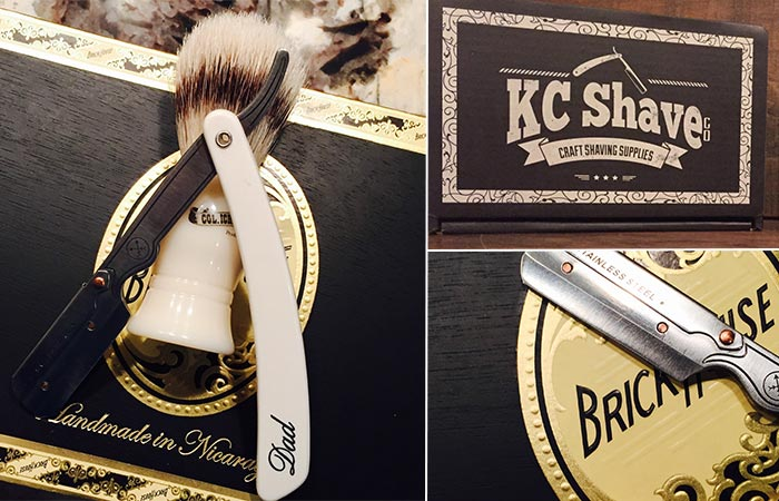 three images of a straight razor kit