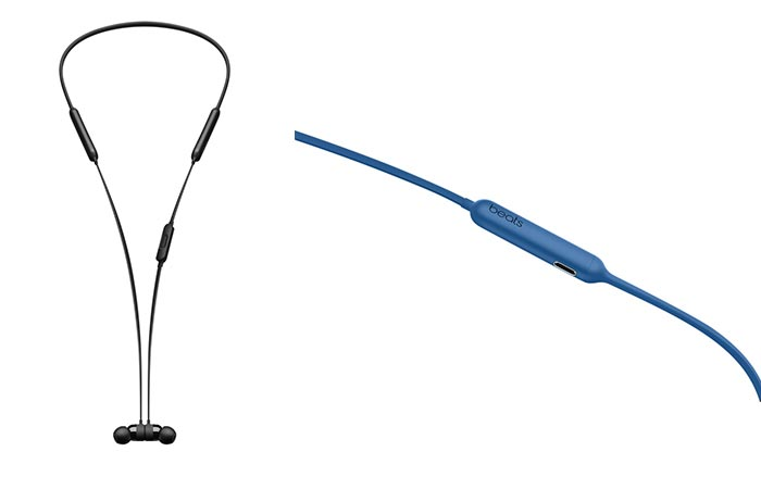 Two different views of the BeatsX Wireless Earphones in black and blue