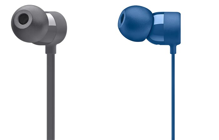 Two different views of the BeatsX Wireless Earphones eartips in grey and blue