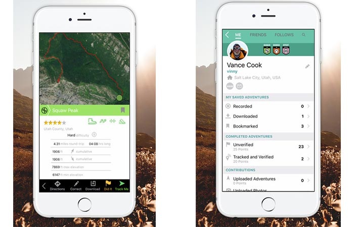 Two different views of the Bivy Adventure App