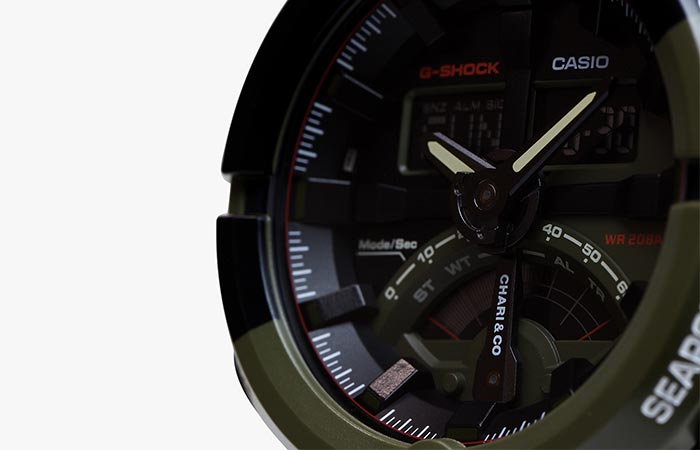 Close up view of the Chari & Co G-Shock Limited Edition GA500K-3A Face