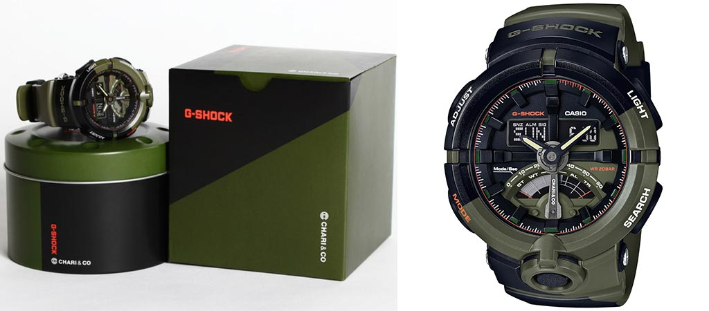 Two different views of the Chari & Co G-Shock Limited Edition