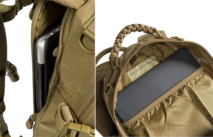 Two different views of the laptop compartment and tablet sleeve.