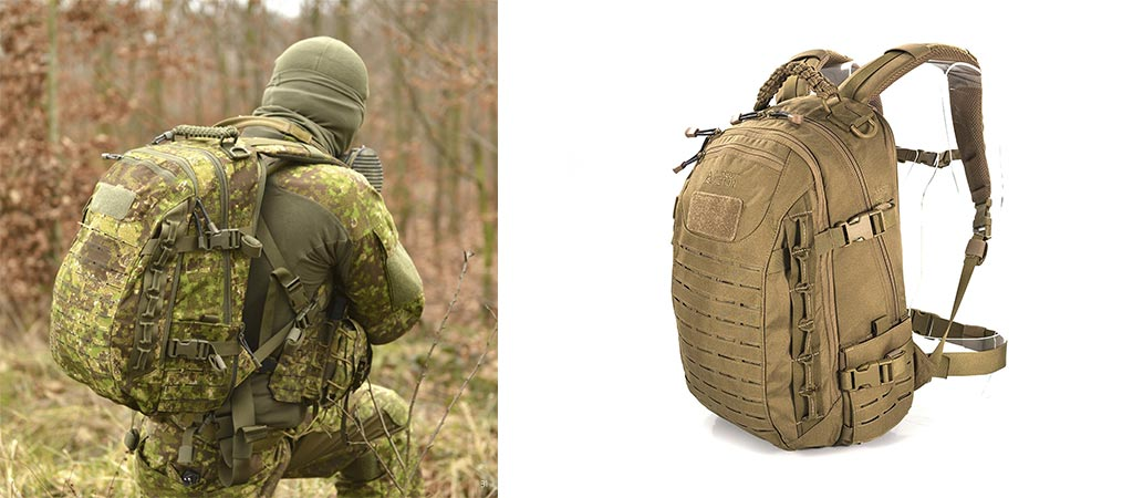 Man using the Direct Action Dragon Egg Tactical Backpack in the field and a picture of it in desert sand color