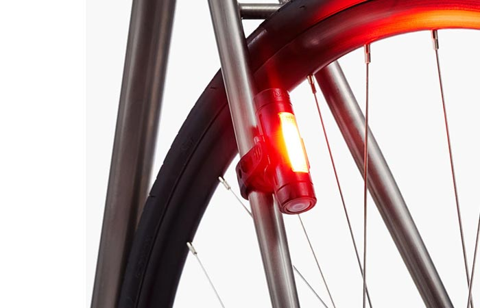 Fabric FLR30 Bicycle Brake Light mounted on the back fork of a bicycle