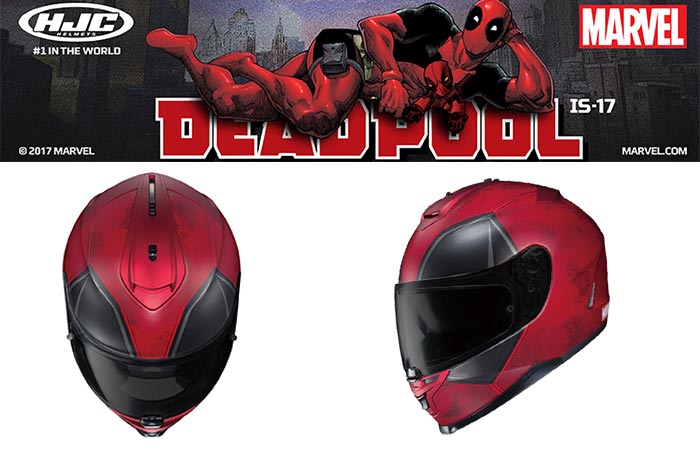 Different views of the HJC IS-17 Deadpool Helmet