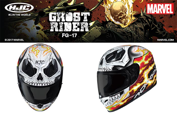 Two different views of HJC's Ghost Rider Helmet