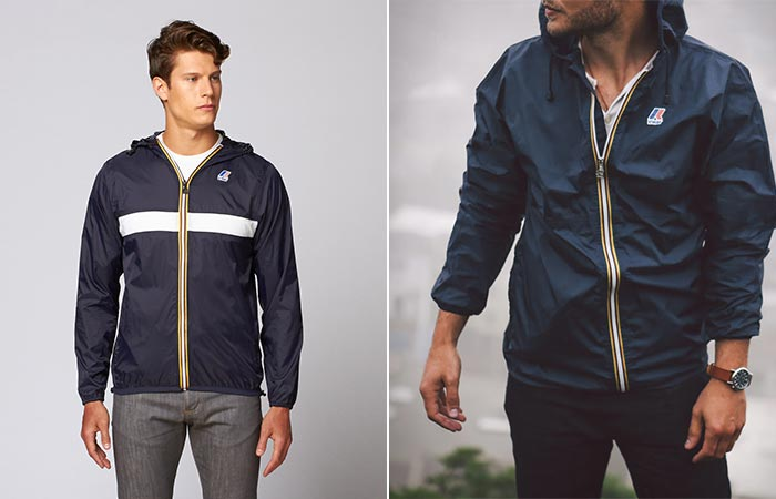 two images of navy K-Way Claude 3.0 Jacket