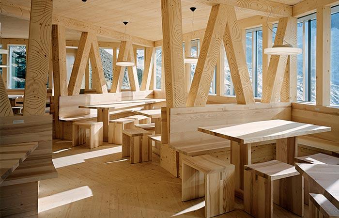 wooden communal areas in Monte Rosa Hut