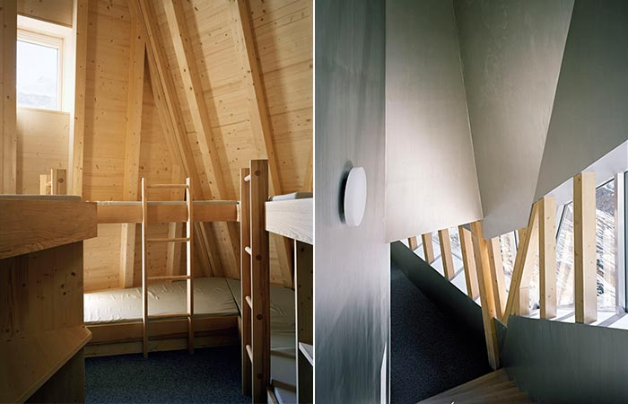 two images of Monte Rosa Hut interior