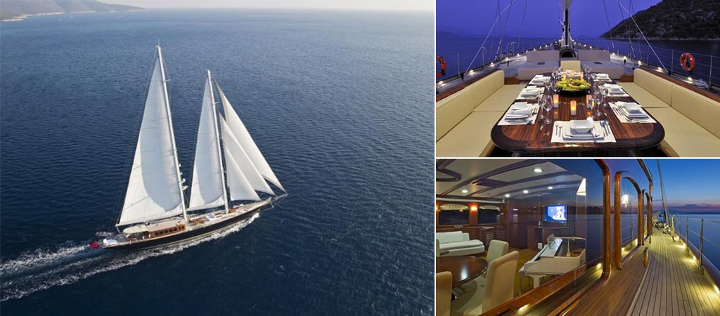 Three different views of the Regina Sailing Yacht