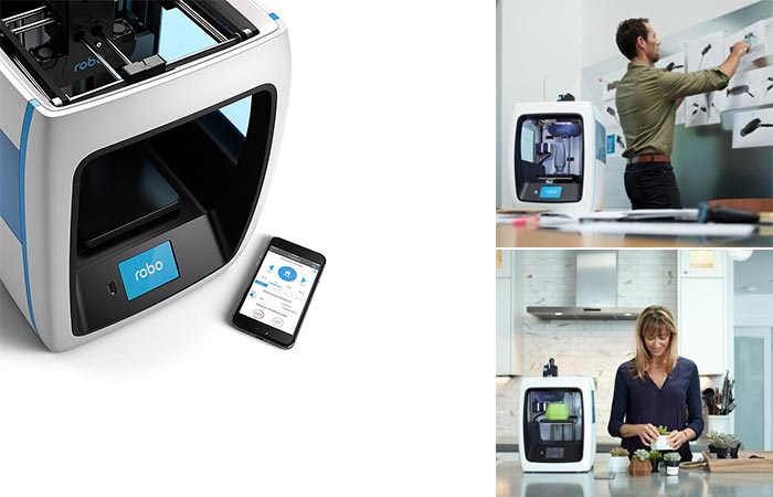 Robo C2 with a photo of a mobile, and two different views of people using it.