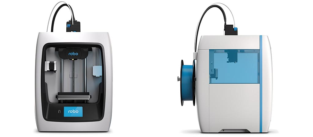Front and side view of the Robo 3D Printer C2
