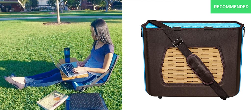 Woman using the Satchelbord and a picture of it as a messenger bag