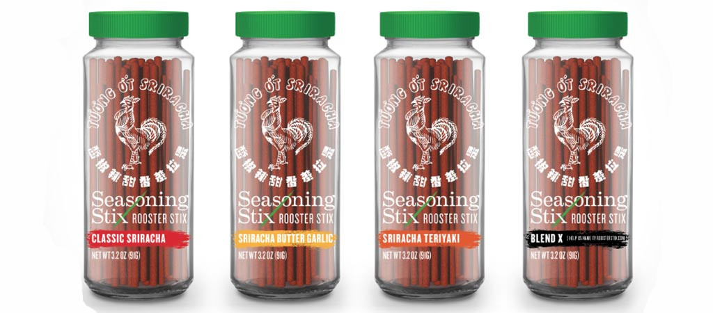 Four different flavors of the Sriracha Seasoning Stix