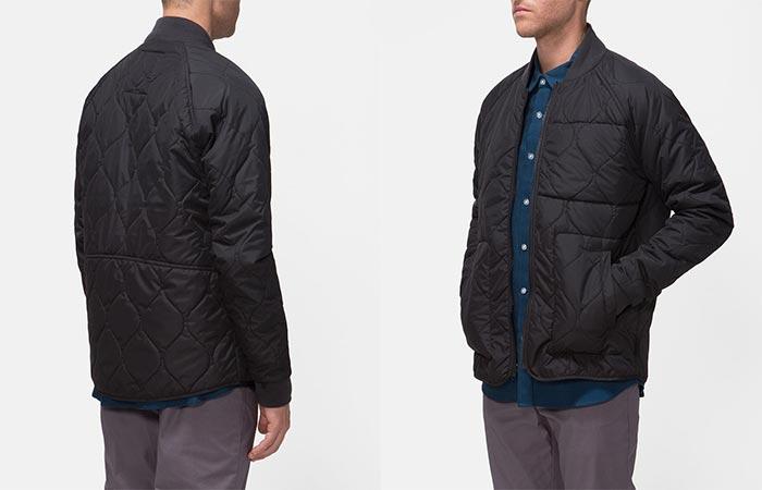 two images of a guy wearing black Tavik jacket