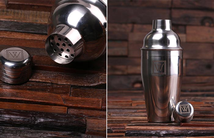 two images of a shaker from Teals Prairie Cocktail Set