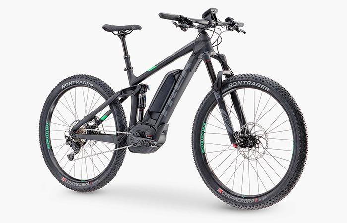Front view of the Trek Powerfly 8 FS Mountain Bike