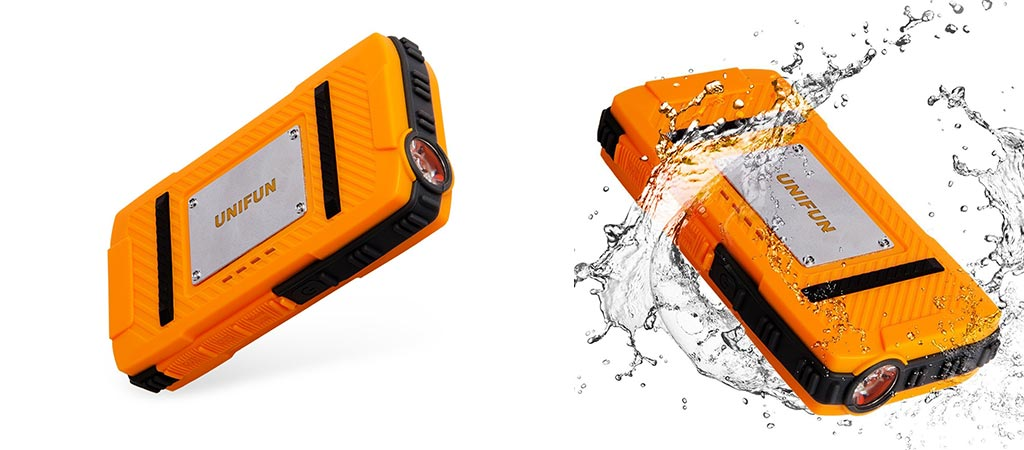 Two different views of the Unifun 10400mAh Waterproof Power Bank