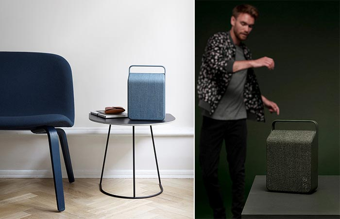 Vifa Oslo in Ocean Blue on a table, and in Pine Green with a man dancing behind it.