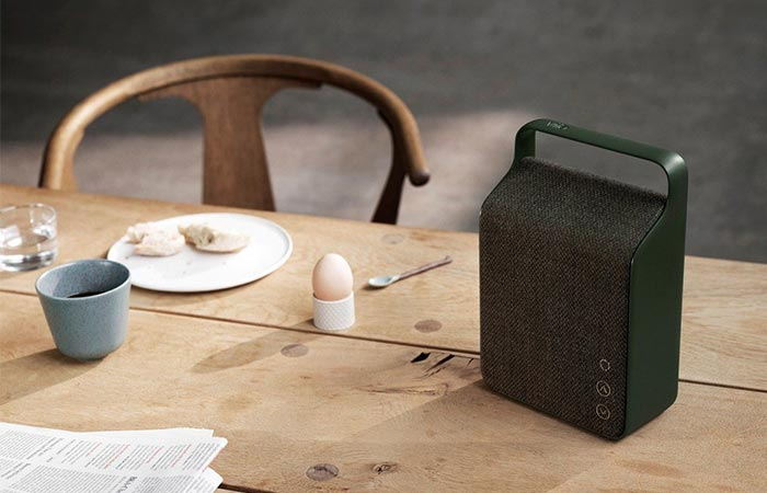 Vifa Oslo in Pine Green on a table