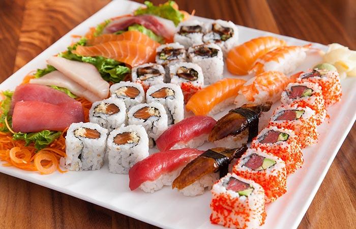 Plate of sushi and sashimi