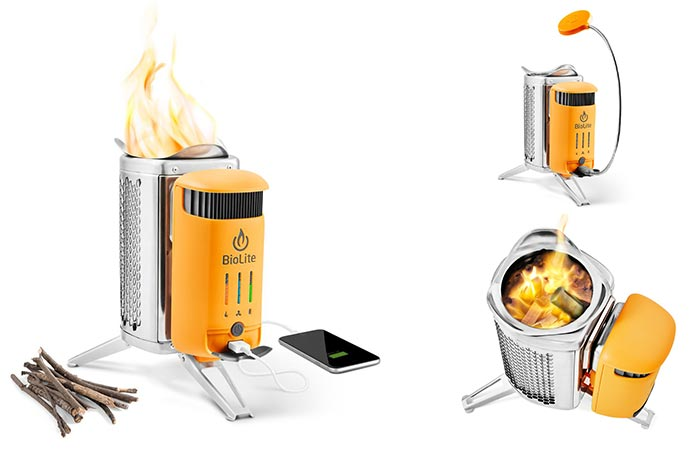 Three different views of the Biolite CampStove 2