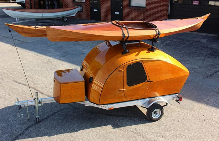 CLC Teardrop Camper with Kayaks on the roof