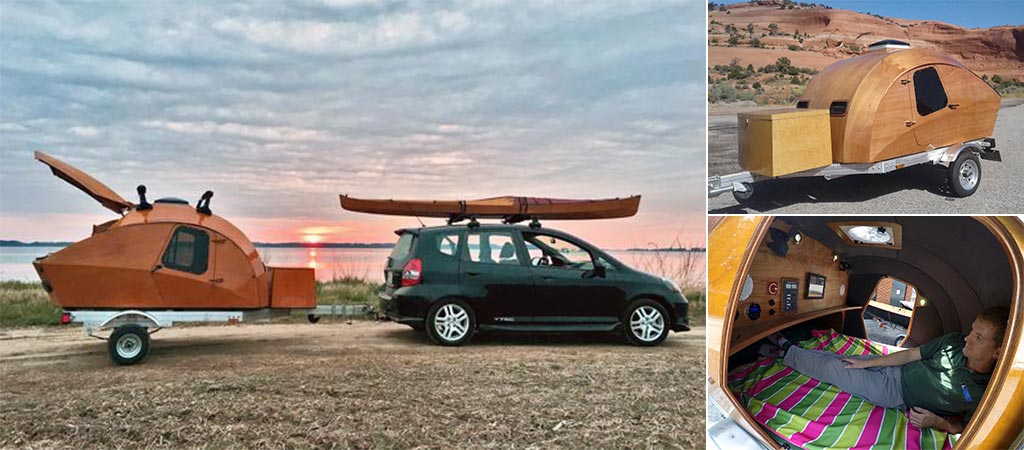 Three different views of the CLC Teardrop Camper