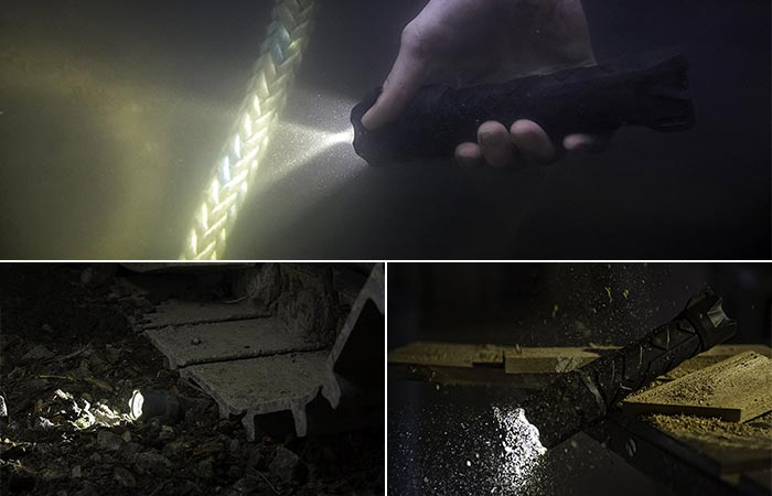 View of the Polysteel being used underwater, under a CAT track, and being dropped.