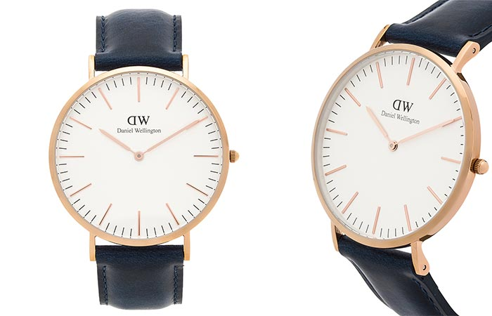 Two different views of the Daniel Wellington Classic Somerset Watch