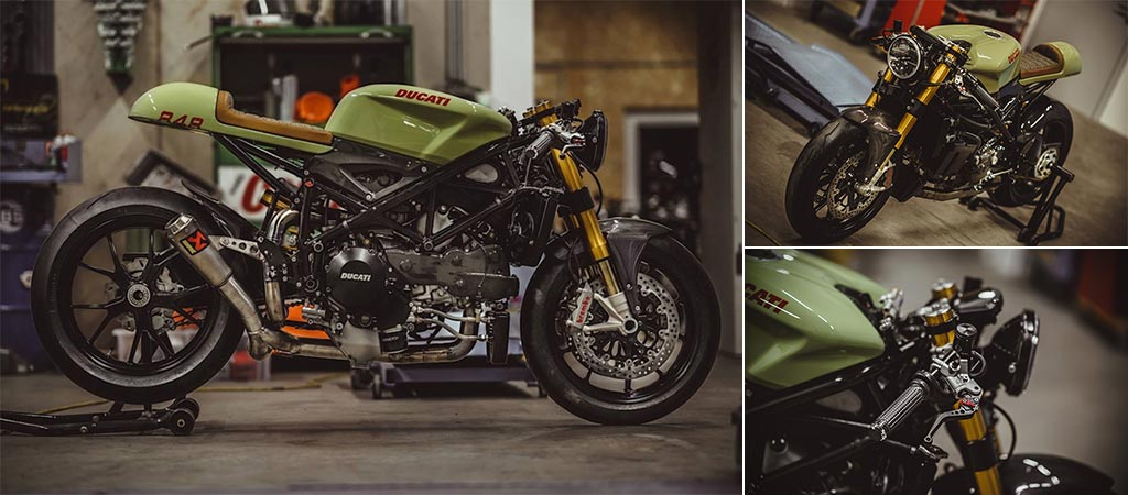 Three different views of the Ducati 848 Evo Racer By NCT Motorcycles