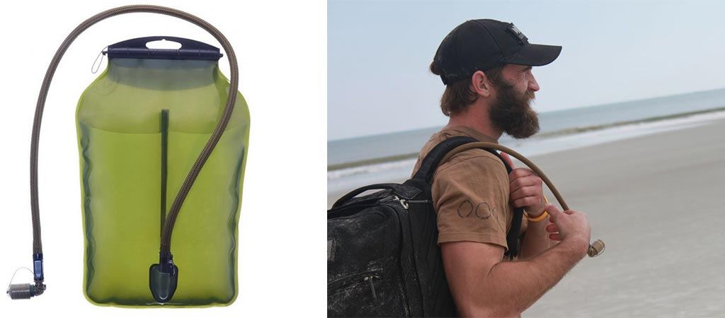View of the GoRuck 3L Low Profile Hydration Bladder by itself, and of a man with it in his backpack