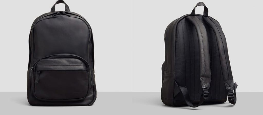 Front and back view of the Kenneth Cole Columbian Leather Computer Backpack