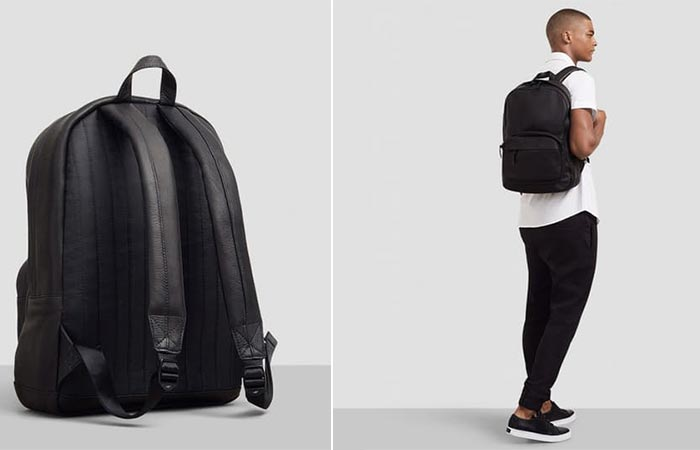 Back view and an image of a man with the Kenneth Cole Columbian Leather Computer Backpack.