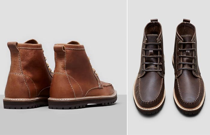 two images of leather boots