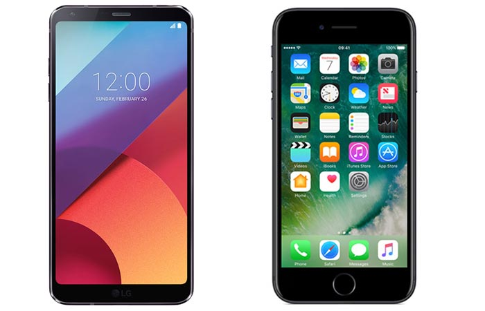 LG G6 and iPhone 7 front view