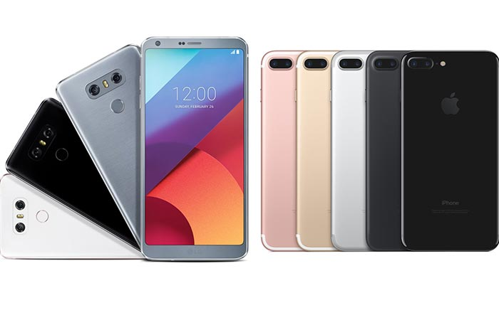 Different colors of the LG G6 and the iPhone 7