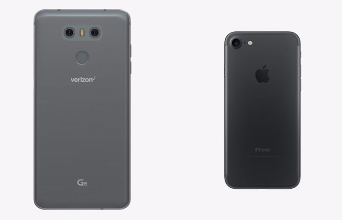 Back cover of the LG G6 and the iPhone 7