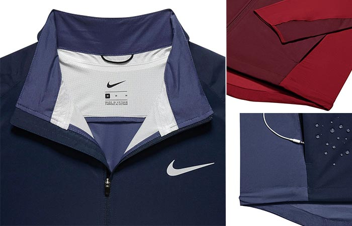 three images of Nike Shield Running Jacket features