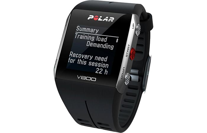 Polar V800 GPS Sports Watch with a picture of the calculated recovery time