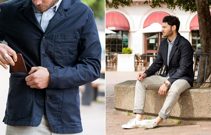 two images of a guy wering Relwen Keel Blazer