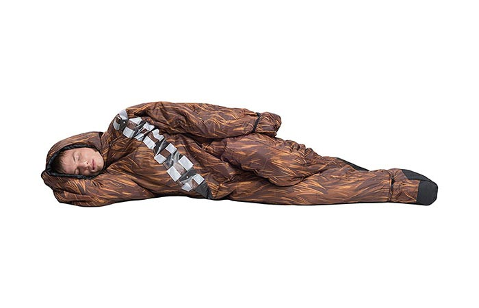 Man laying down in the Selk'bag Chewbacca edition